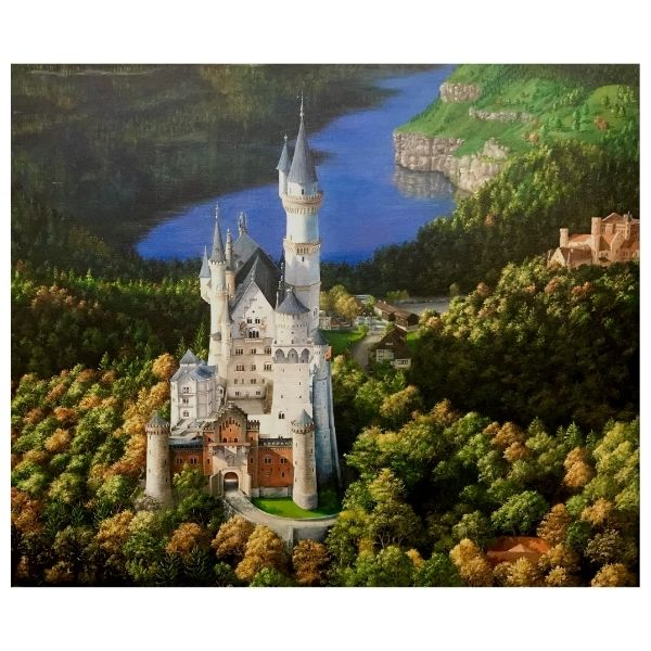 Neushwanstein Castle Germany | Acrylic Painting by Chikita Patel | 48x40