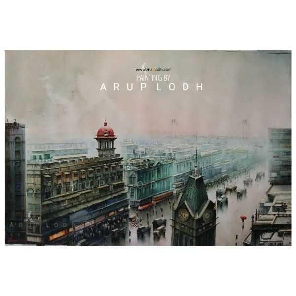 From 8th Floor,Kolkata   Watercolor Painting by Arup Lodh   29x43