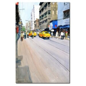 yellow-taxis-kolkata-watercolor-painting-by-ramesh-jhawar-21x14