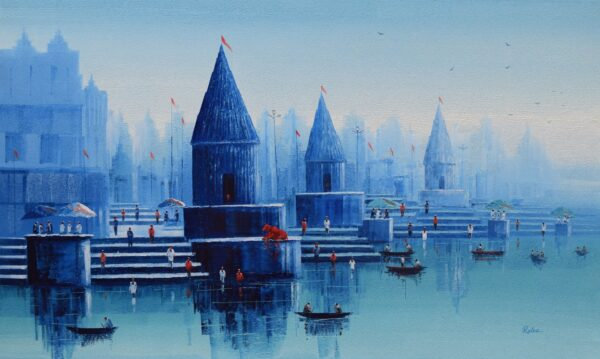 banaras-ghat-oil-on-canvas-painting-by-reba-mandal-36x60