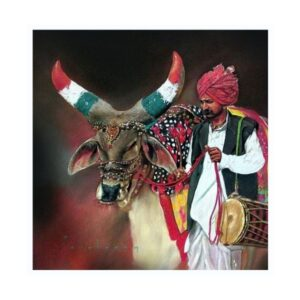 nandi-2-color-pencil-dry-pastel-artwork-by-parshuram-patil-30x30