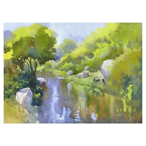 beauty-of-silence-watercolor-painting-by-abel-28x38-cm