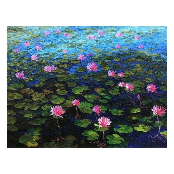 Pond Of Lotus | Acrylic On Canvas Painting by Shraddha More | 36x48