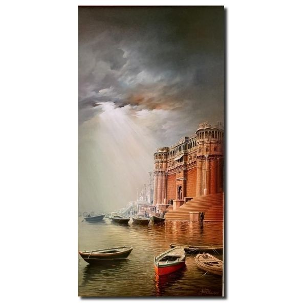banaras-ghat-2-oil-on-canvas-painting-by-amit-bhar-24x47