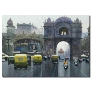 Mumbai-cityscape-watercolor-painting-by-raghunath-sahoo-11x14