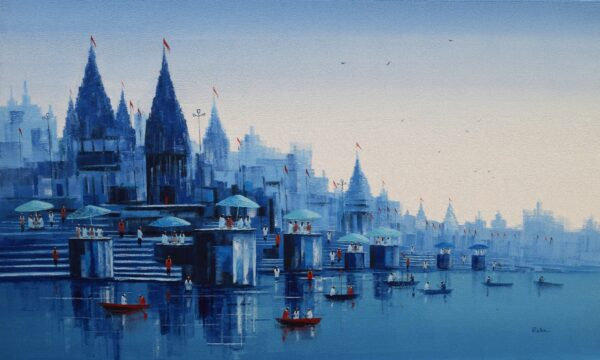 banaras-ghat-acrylic-on-canvas-painting-by-reba-mandal-36x60-2