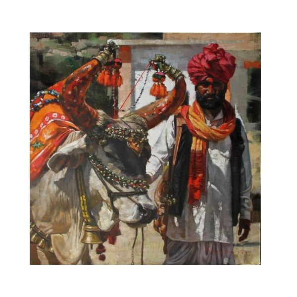 a-horned-fortune-teller-oil-on-canvas-painting-by-parag-borse-28x28