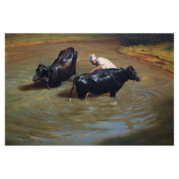 morning-rituals-oil-on-canvas-painting-by-amit-dhane-24x36