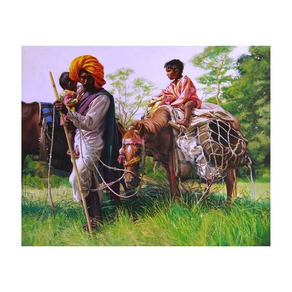 pasture-hunt-19-oil-on-canvas-painting-by-parag-borse-48x60