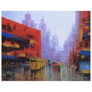 after-rain-in-kolkata-acrylic-on-canvas-by-purnendu-mandal-24x30