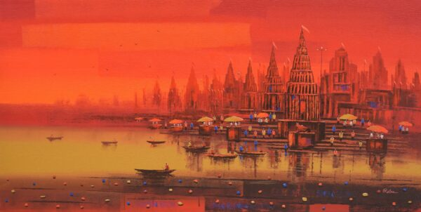 banaras-ghat-acrylic-on-canvas-painting-by-reba-mandal-36x72