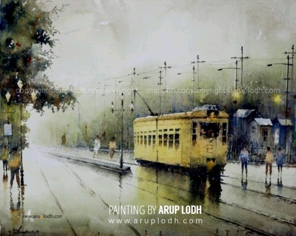 A Wet Afternoon in Kolkata | Watercolor Painting by Arup Lodh | 16x26