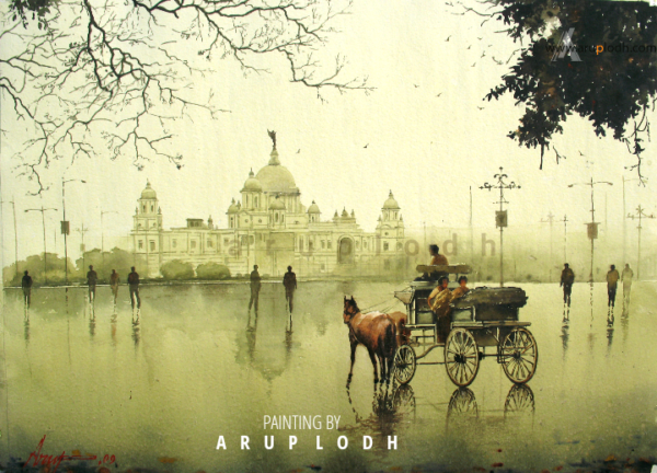 A wet Afternoon in Kolkata | Watercolor Painting by Arup Lodh | 29x22