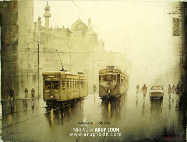 A wet day in Kolkata | Watercolor Painting by Arup Lodh | 29x22