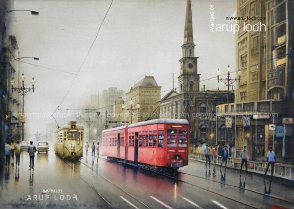 An Afternoon in Kolkata - 3 | Watercolor Painting by Arup Lodh | 29x42