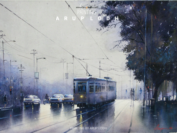 An Evening in Kolkata | Watercolor  Painting by Arup Lodh | 29x22