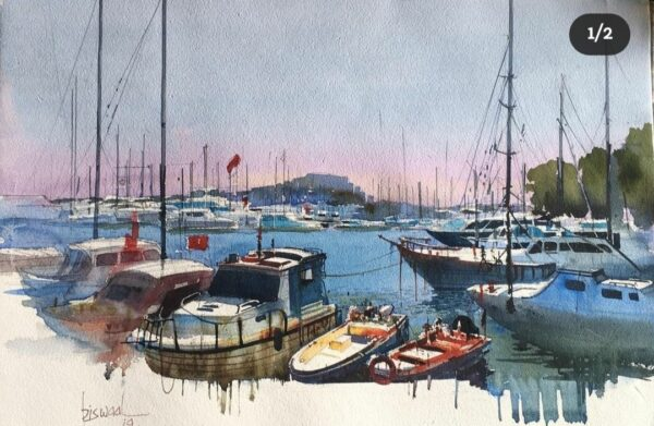 bodrum-marina-turkey-watercolor-on-paper-painting-by-bijay-biswaal-13x18