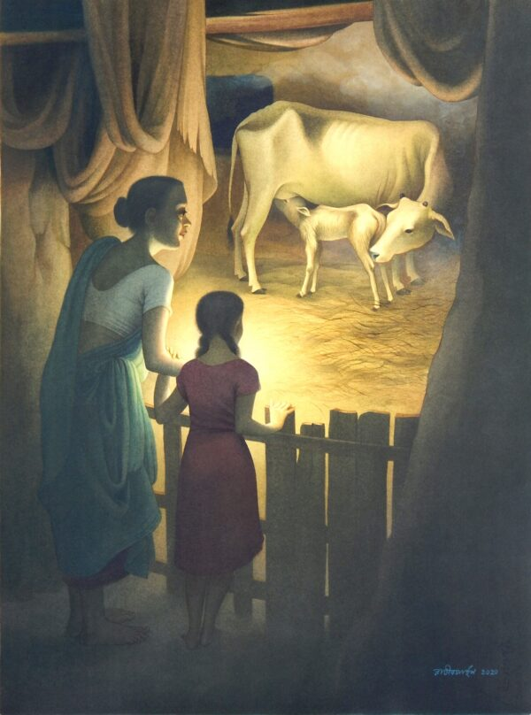 cowhome-watercolour-wash-on-paper-painting-by-rajib-gain-22x30