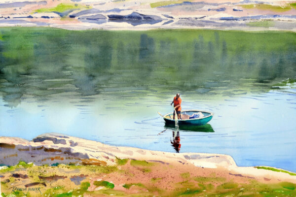 fishing-in-the-cauvery-watercolor-painting-by-ramesh-jhawar-14x21