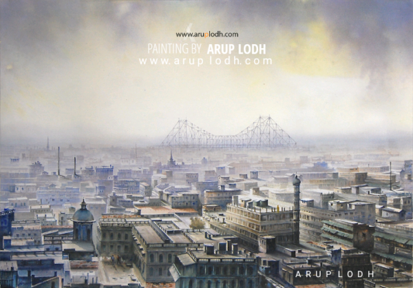 From 10th Floor, Kolkata   Watercolor Painting by Arup Lodh   29x42