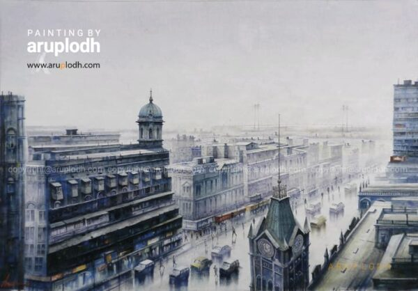 From 8th Floor, Kolkata - 4 | Watercolor Painting by Arup Lodh | 29x42