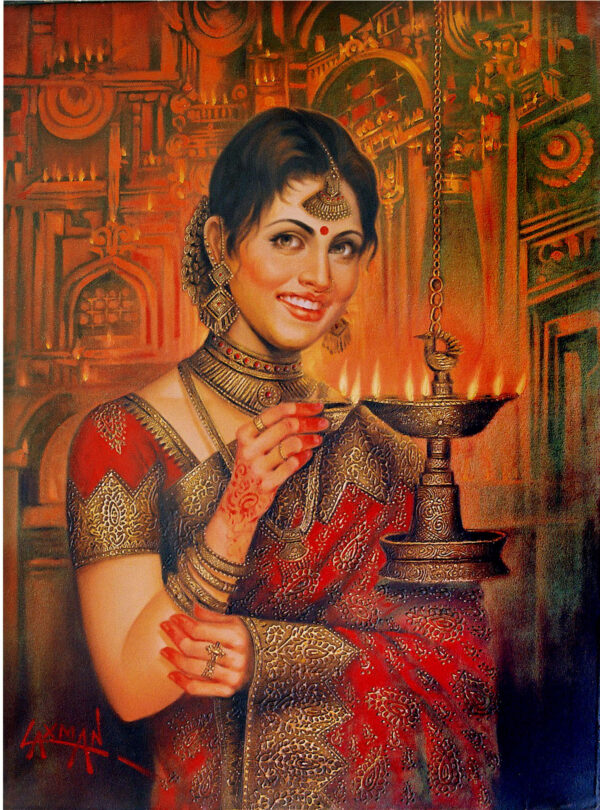 greetings-3-oil-on-canvas-painting-by-laxman-kumar-30x40