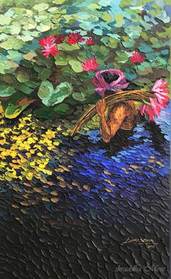 lotus-collector-acrylic-on-canvas-painting-by-shraddha-more-30x48