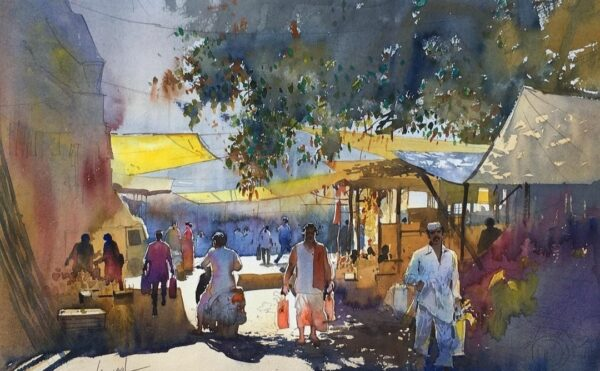 mandai-bazar-pune-watercolor-on-paper-by-bijay-biswaal-13x18