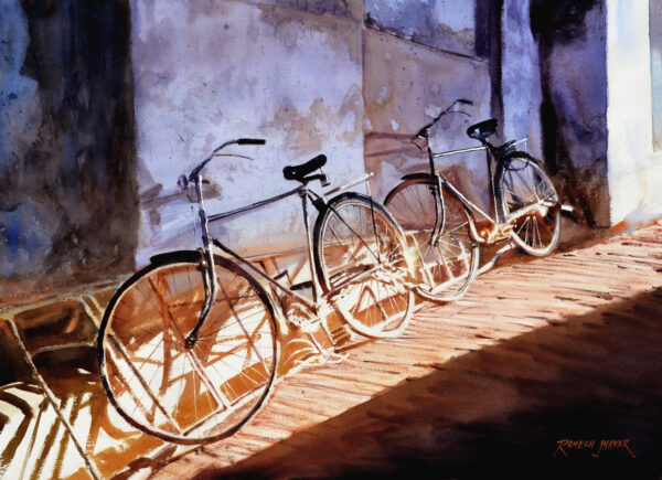 noon-break-watercolor-painting-by-ramesh-jhawar-21x29