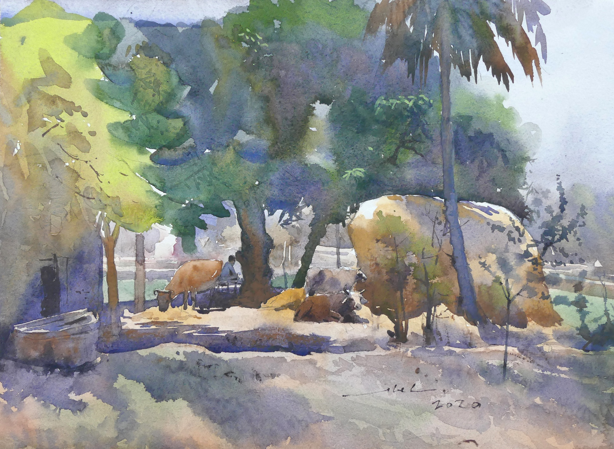 Pleasant Village Life | Watercolor Painting by Abel | 28x38 cm Rs 15000