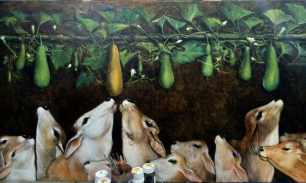 ancient-bull-cows-with-pottery-acrylic-on-canvas-by-jiban-biswas-36x48