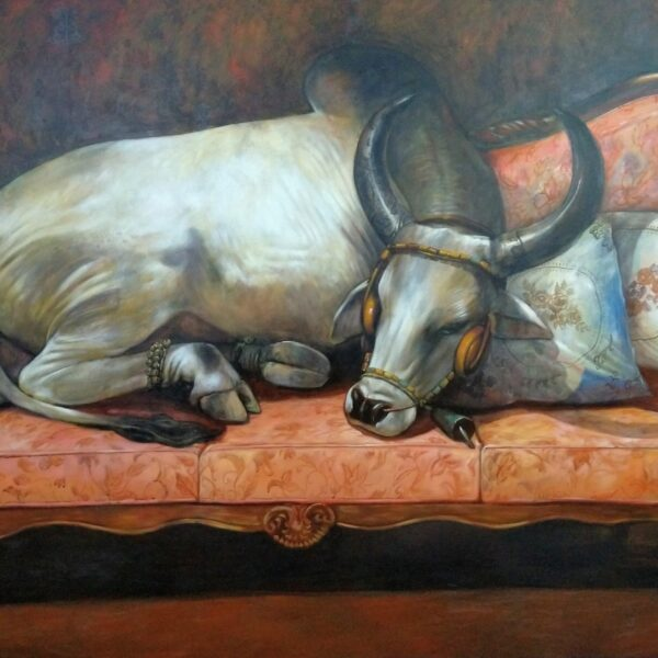 quality-time-cow-with-sofa-acrylic-on-canvas-5x8