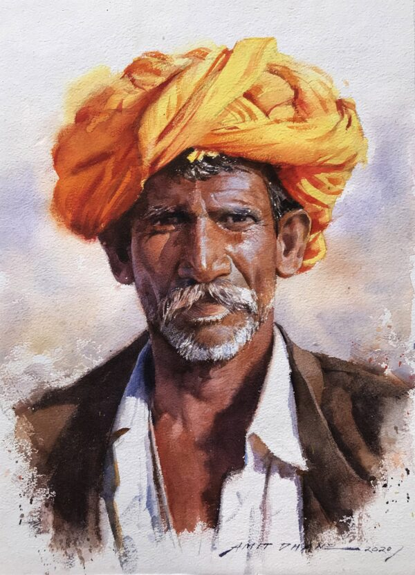 rural-rajasthani-watercolor-painting-by-amit-dhane-11x14