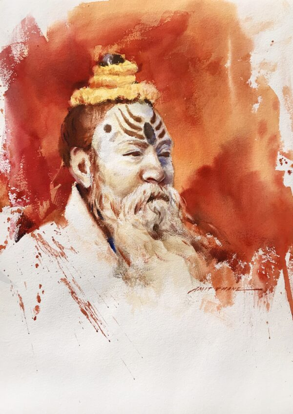 sadhu-2-watercolor-painting-by-amit-dhane-20x14