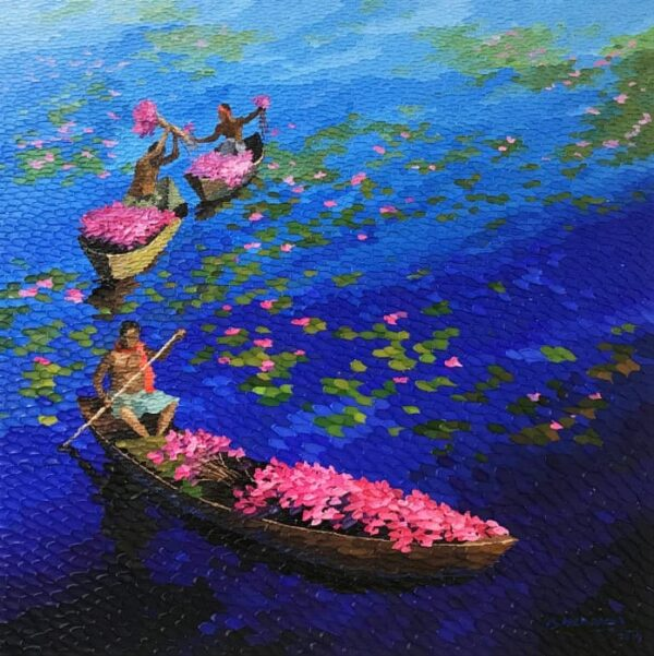 the-floating-flowers-on-blue-acryic-painting-by-shraddha-more-36x36