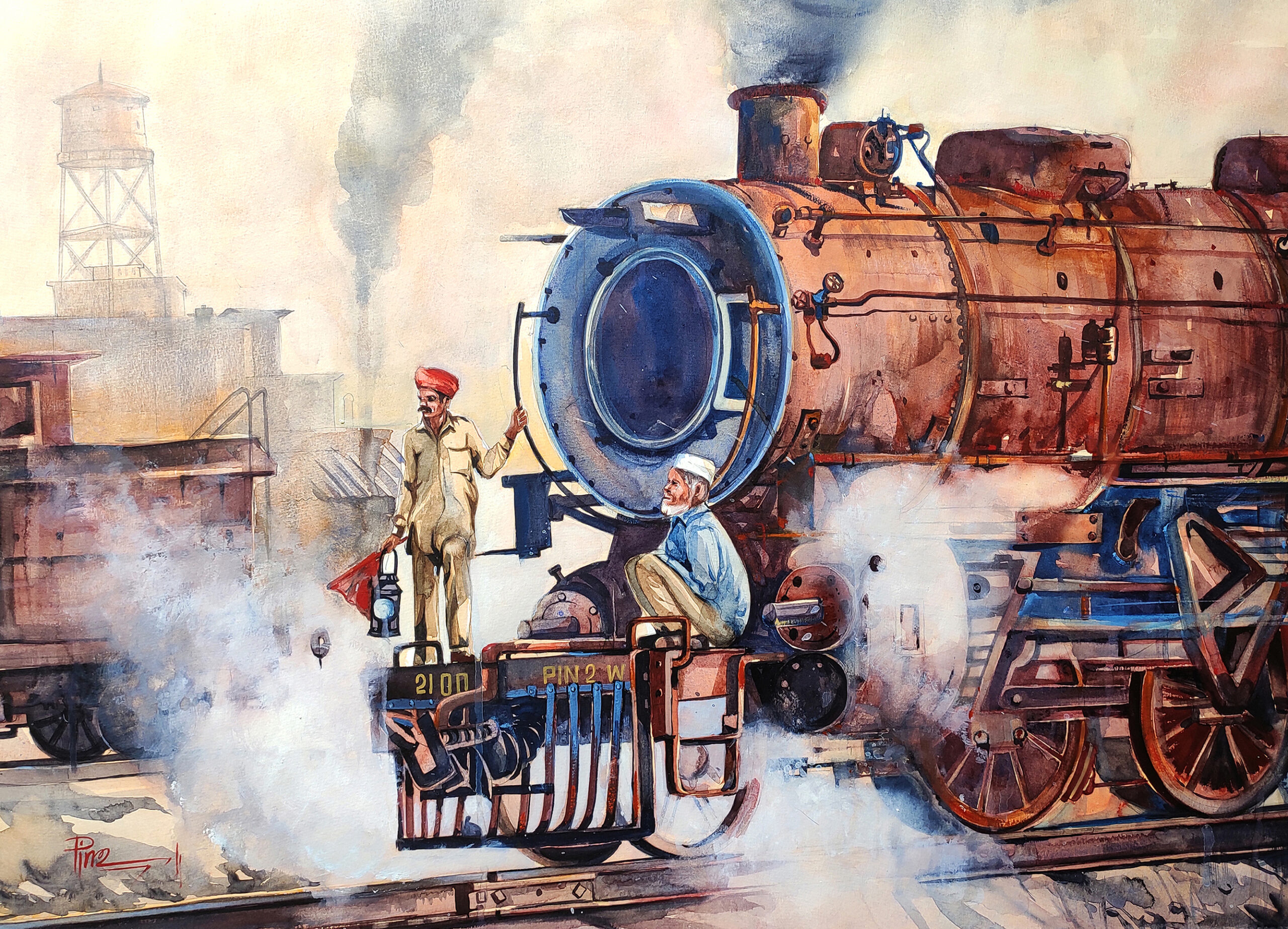 the-iron-giant-watercolor-on-paper-painting-by-pintu-sengupta-22x30