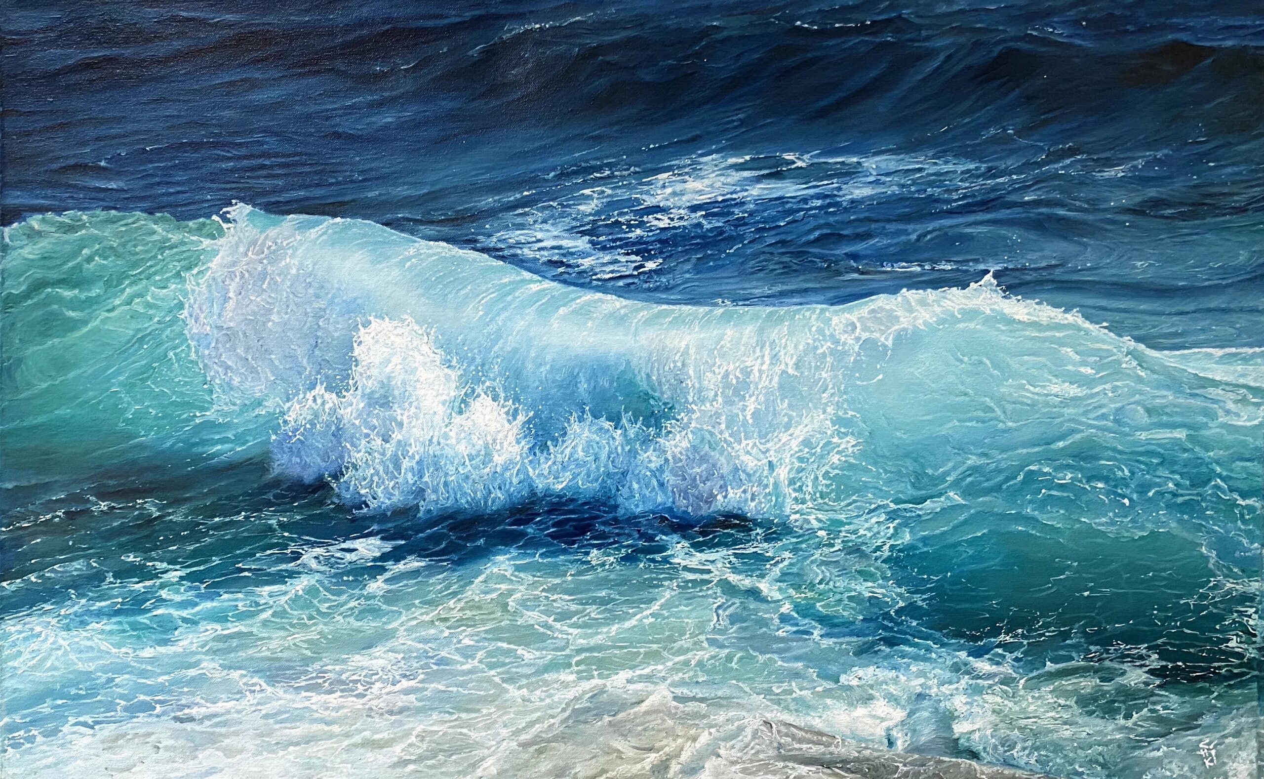 The Wave | Oil Painting by Chikita Patel | 36x24 | 18.5