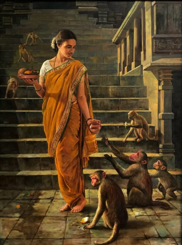 to-the-temple-oil-on-canvas-paintings-by-ramesh-nannware-36x48