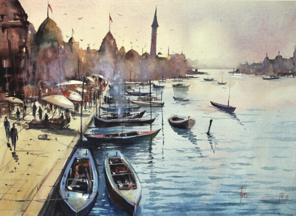 trail-of-boats-watercolor-on-paper-painting-by-pintu-sengupta-22x30