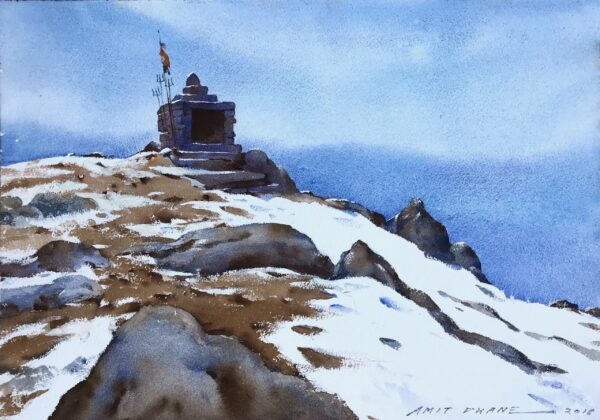 triund-himachal-pradesh-watercolor-painting-by-amit-dhane-15x22