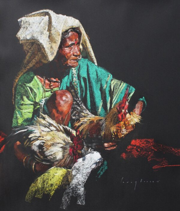 wrinkles-and-the-roosters-dry-pastels-on-paper-painting-by-parag-borse-31x27