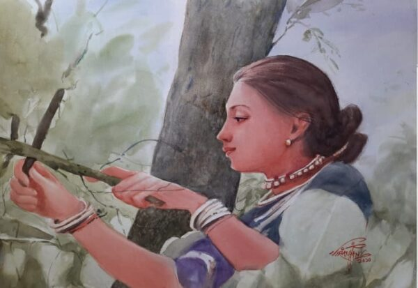 Watercolor On Canvas Painting by Ram Viranjan | 22×28