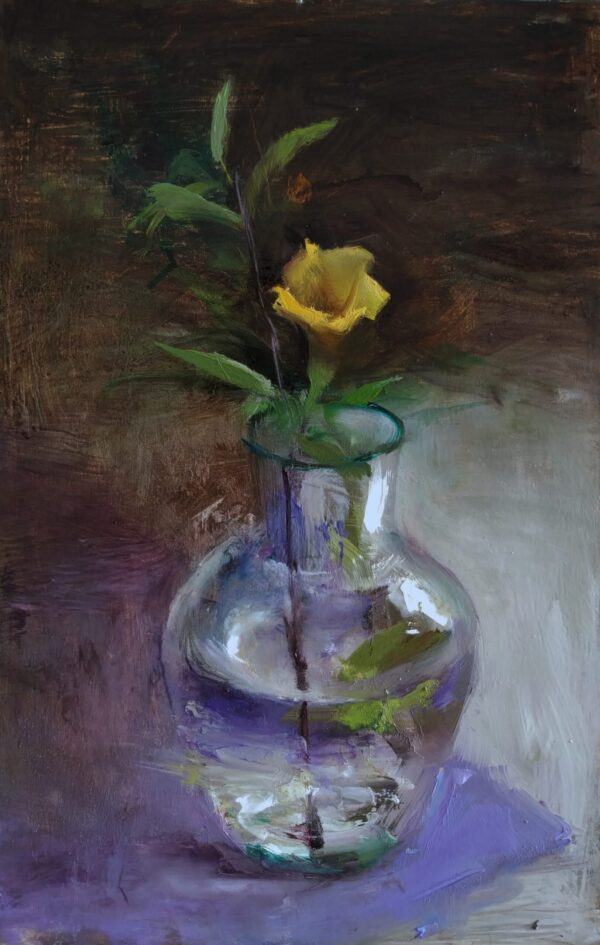yellow-beauty-oil-on-board-by-surabhi-gulwelkar-12x8