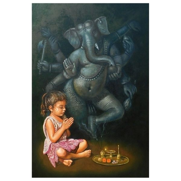 Painting title lord Ganesh , size 32 into 46 inches oil on canvas