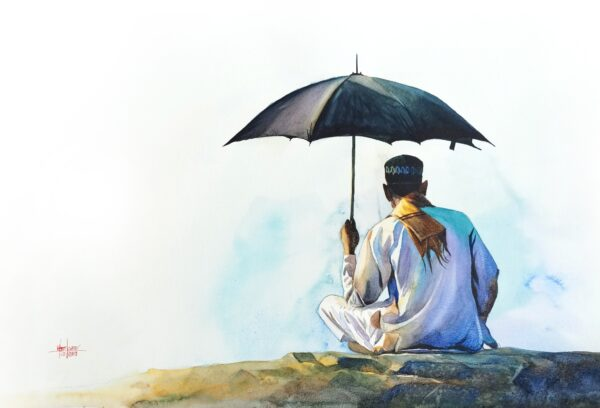 Waiting | Watercolor Painting by Hemkumar Topiwala | 22×15