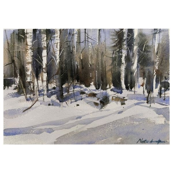FIRST SNOW | Watercolor Painting | 8×12