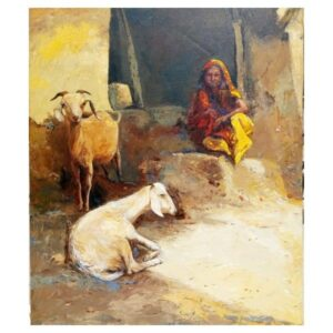 The Villager | Acrylic On Canvas Painting by Satyabrata Karmakar l 36×30