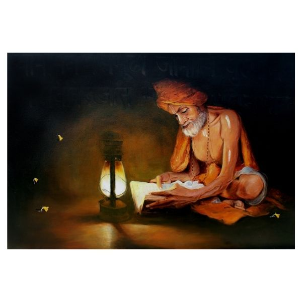 Reading to Hindu Literature | Acrylic Painting by Satyabrata Karmakar | 36x30