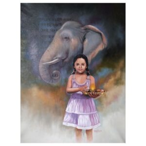 Painting title little priest , size 32 in to 26 inches medium oil on canvas