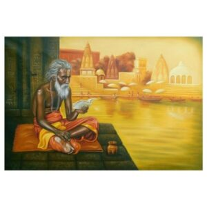 Painting title Indian sant , size 32 into 46 inches oil on canvas